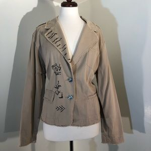 Chico's Khaki color blazer with buttons; size 3